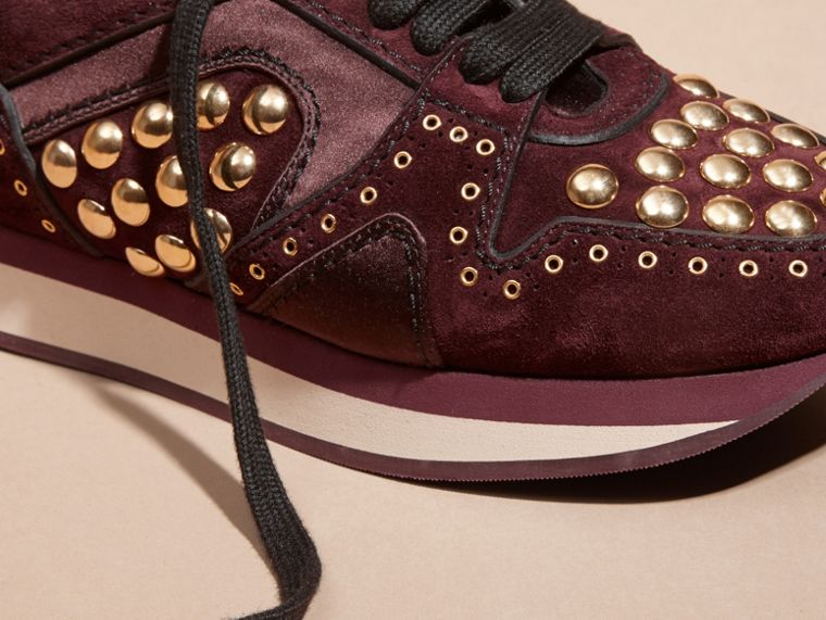Dark mahogany The Field Sneaker in Studded Suede Dark Mahogany - cell image 1