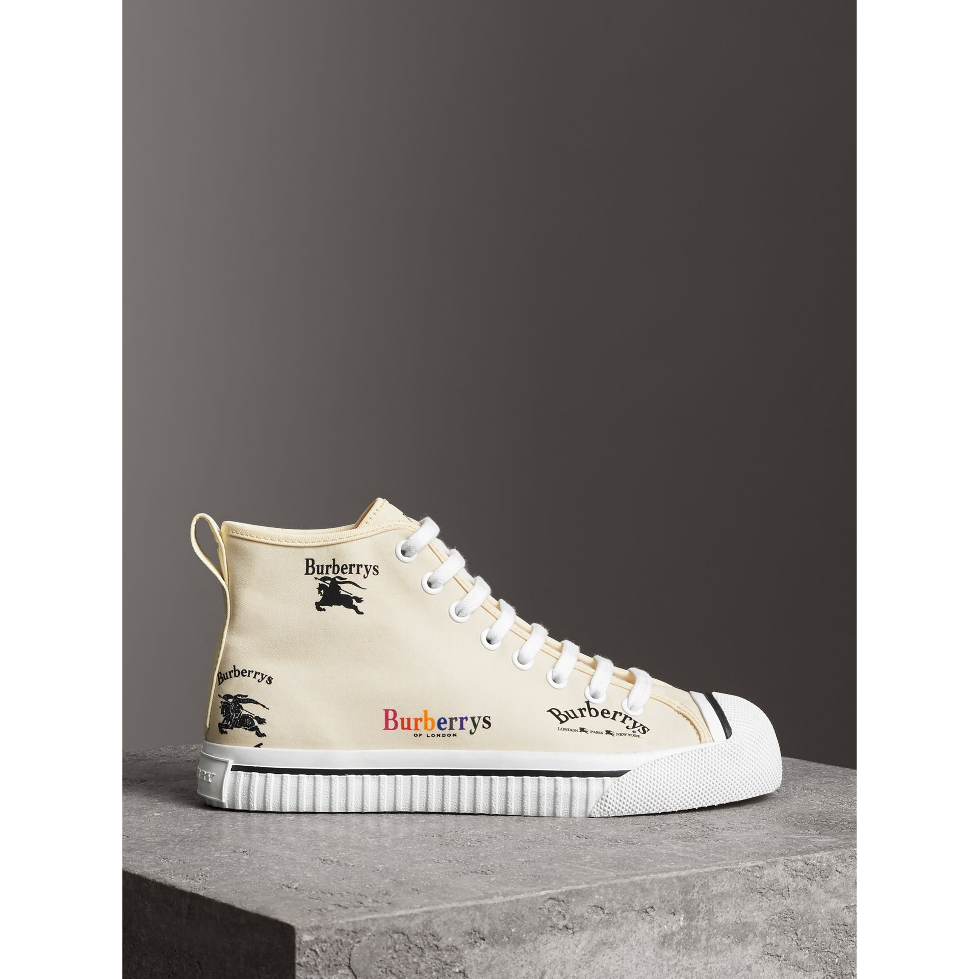 Archive Logo Cotton High-top Sneakers in Off White - Women | Burberry United Kingdom - gallery image 4