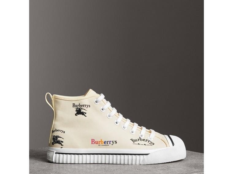Sneakers montantes en coton avec logo d'archive (Blanc Cassé) - Femme | Burberry Canada - cell image 4