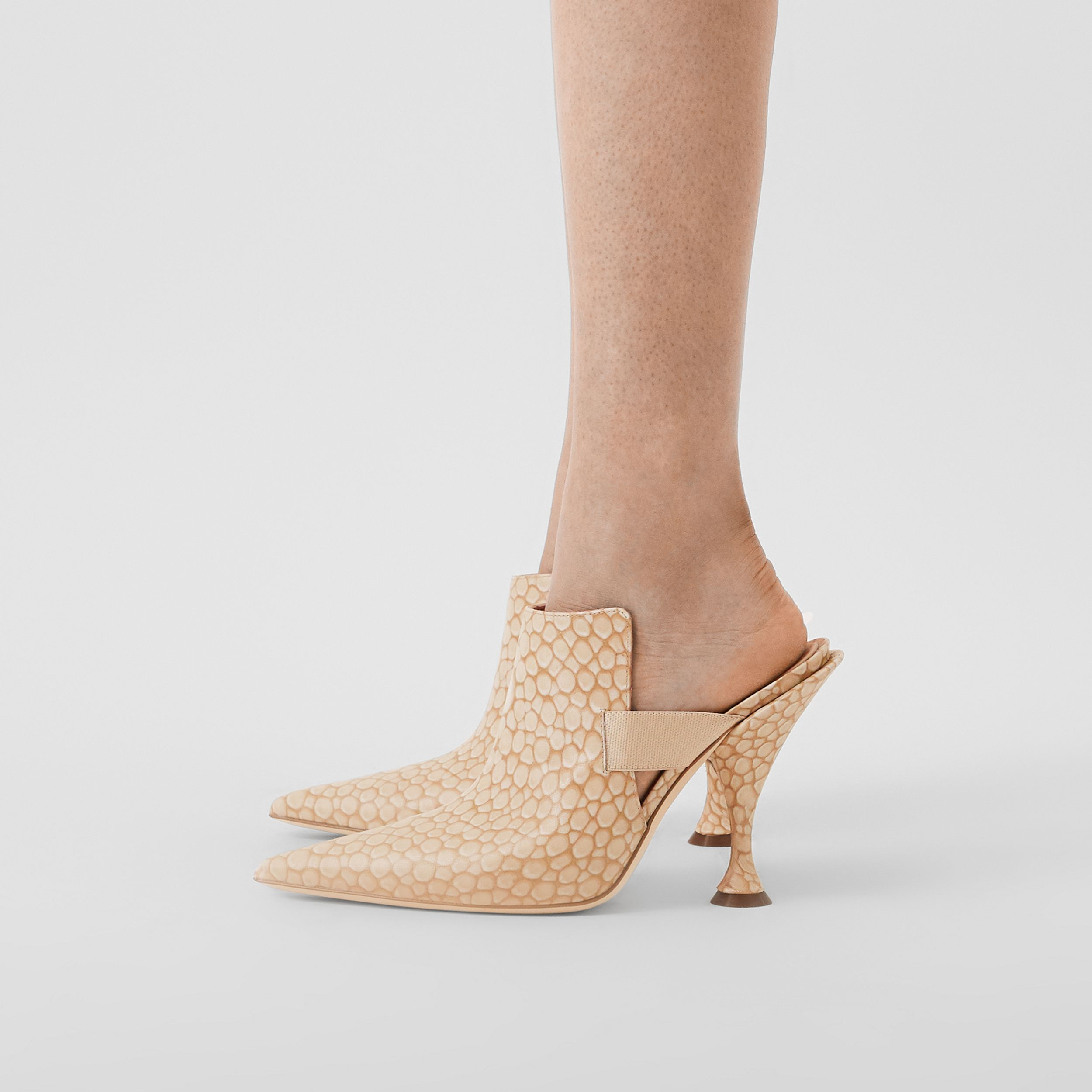 Stingray Print Leather Point-toe Mules in Light Sand - Women | Burberry - 3