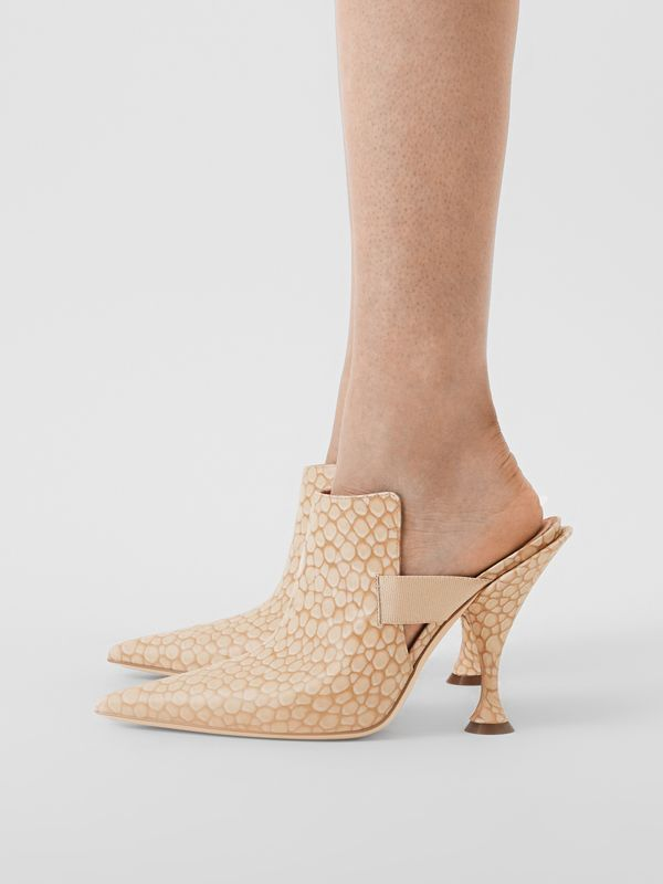 Stingray Print Leather Point-toe Mules in Light Sand - Women | Burberry - cell image 2