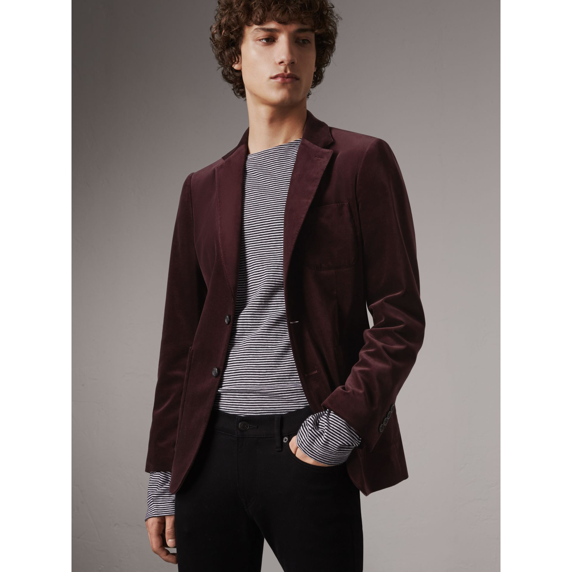 Soho Fit Velvet Tailored Jacket in Blackcurrant - Men | Burberry - gallery image 5