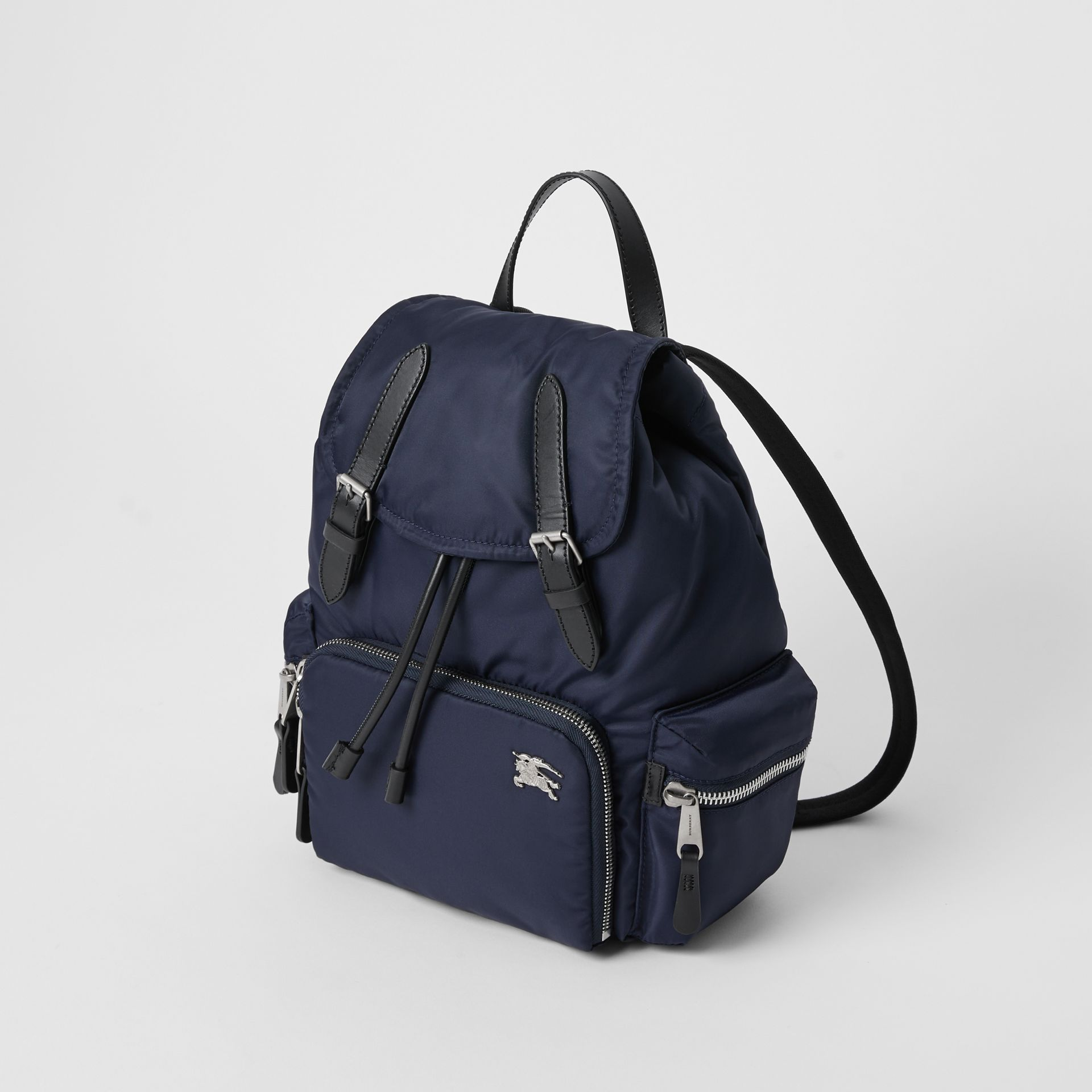 The Medium Rucksack in Puffer Nylon and Leather in Ink Blue - Women | Burberry United Kingdom - gallery image 3
