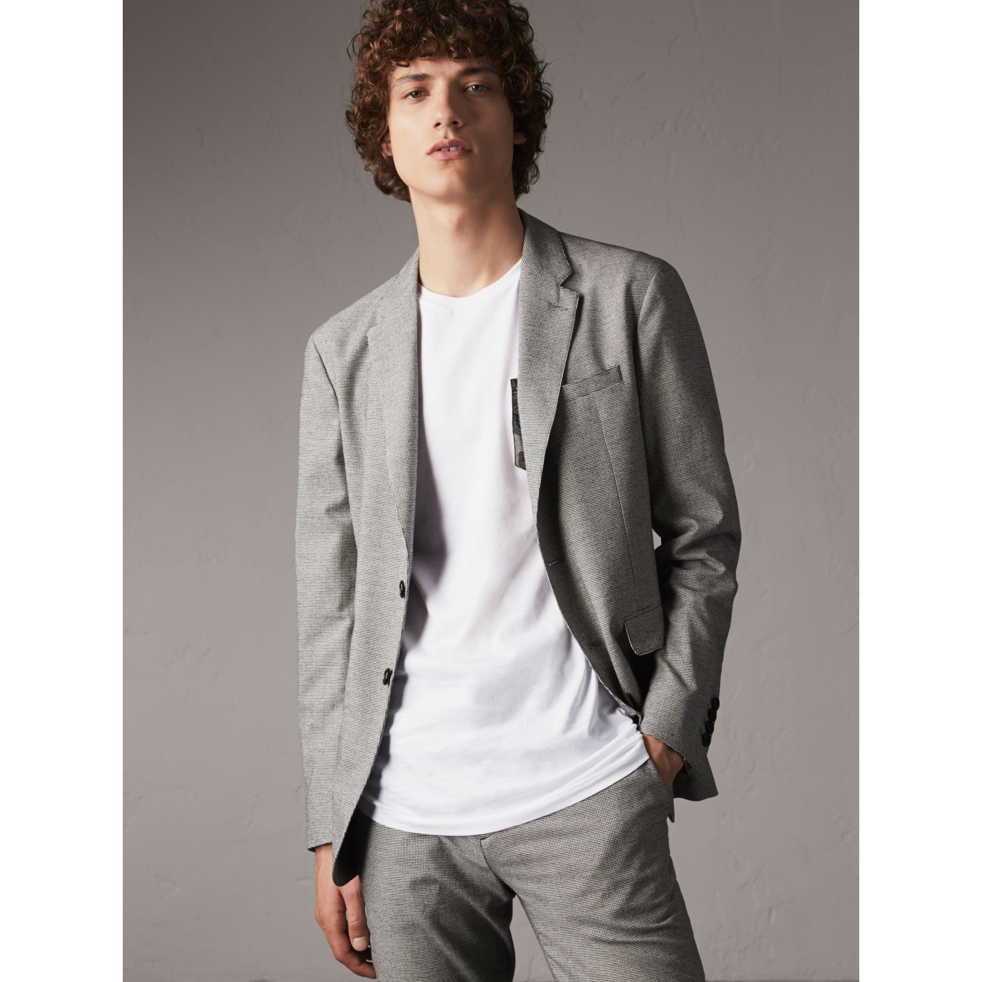 Micro Houndstooth Cotton Wool Blend Blazer in Charcoal - Men | Burberry Australia - gallery image 1