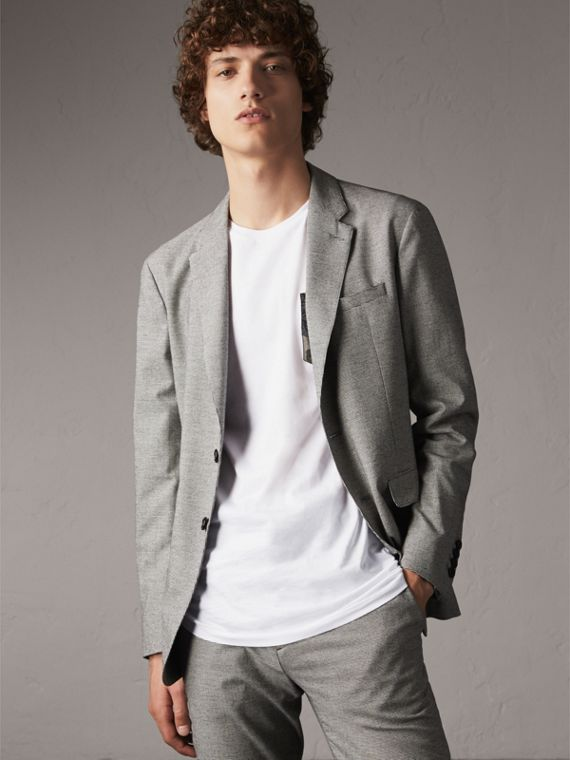 Micro Houndstooth Cotton Wool Blend Blazer in Charcoal - Men | Burberry Singapore
