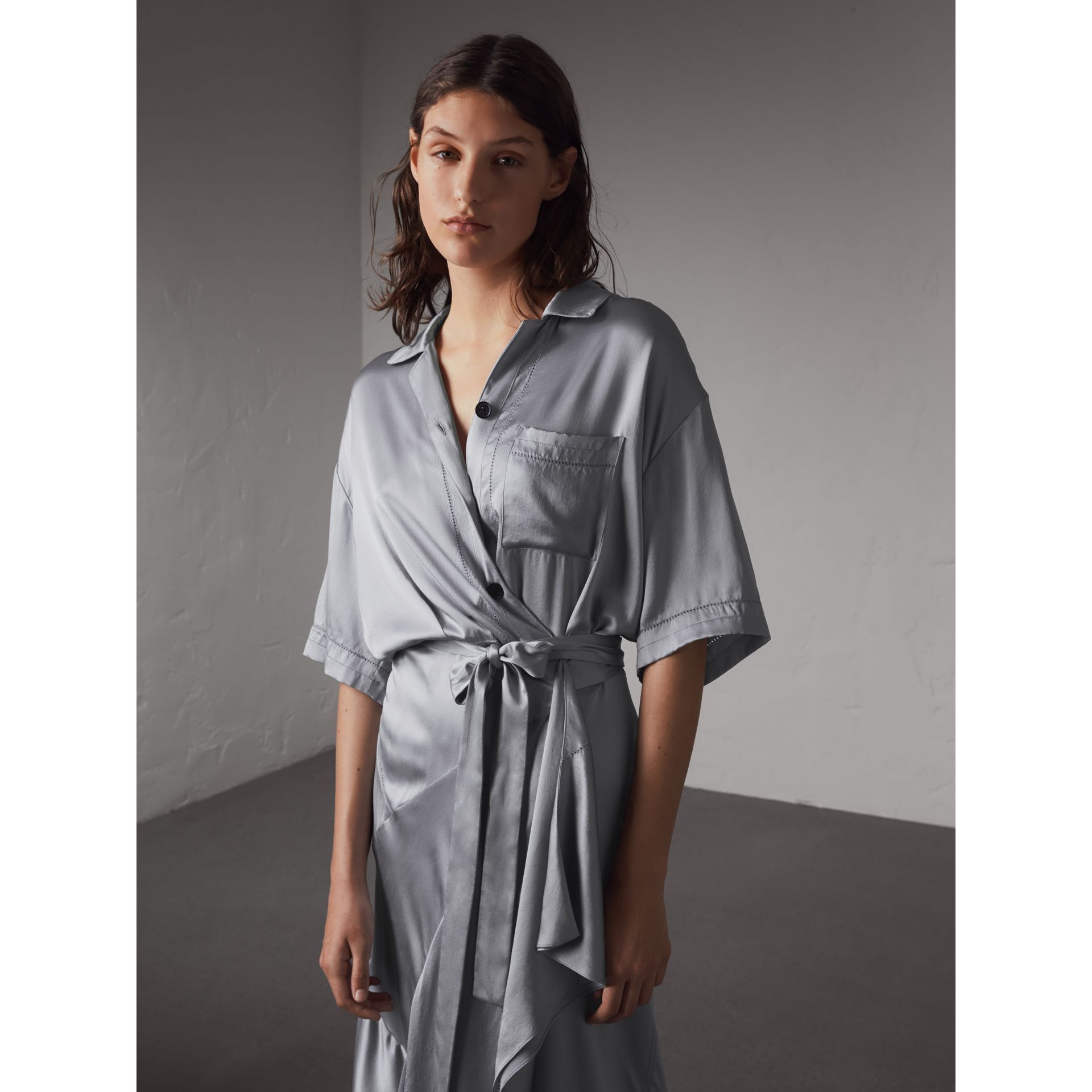 Washed Silk Satin Tie-waist Shirt Dress in Mineral Blue - Women | Burberry - gallery image 5