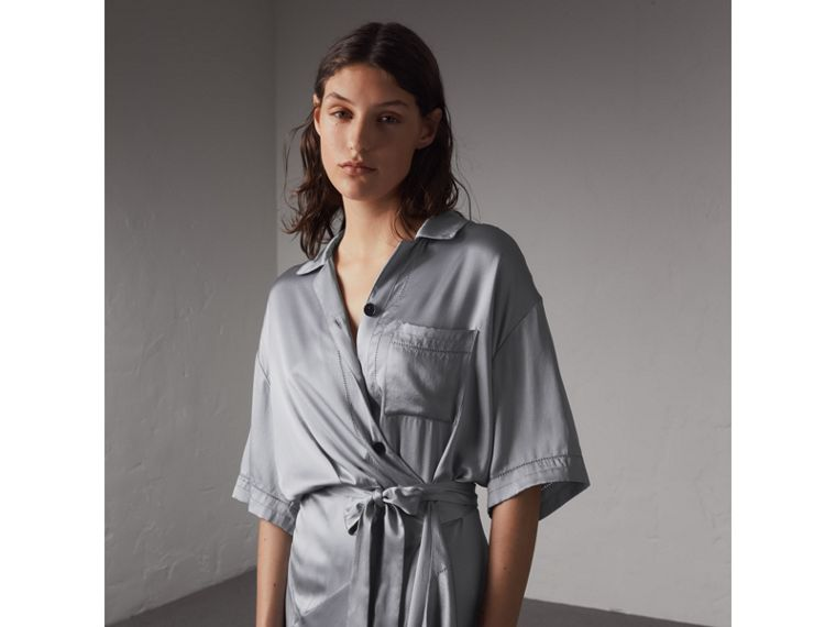 Washed Silk Satin Tie-waist Shirt Dress in Mineral Blue - Women | Burberry - cell image 4
