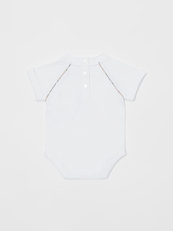 Check Detail Cotton Four-piece Baby Gift Set in White - Children | Burberry - cell image 2