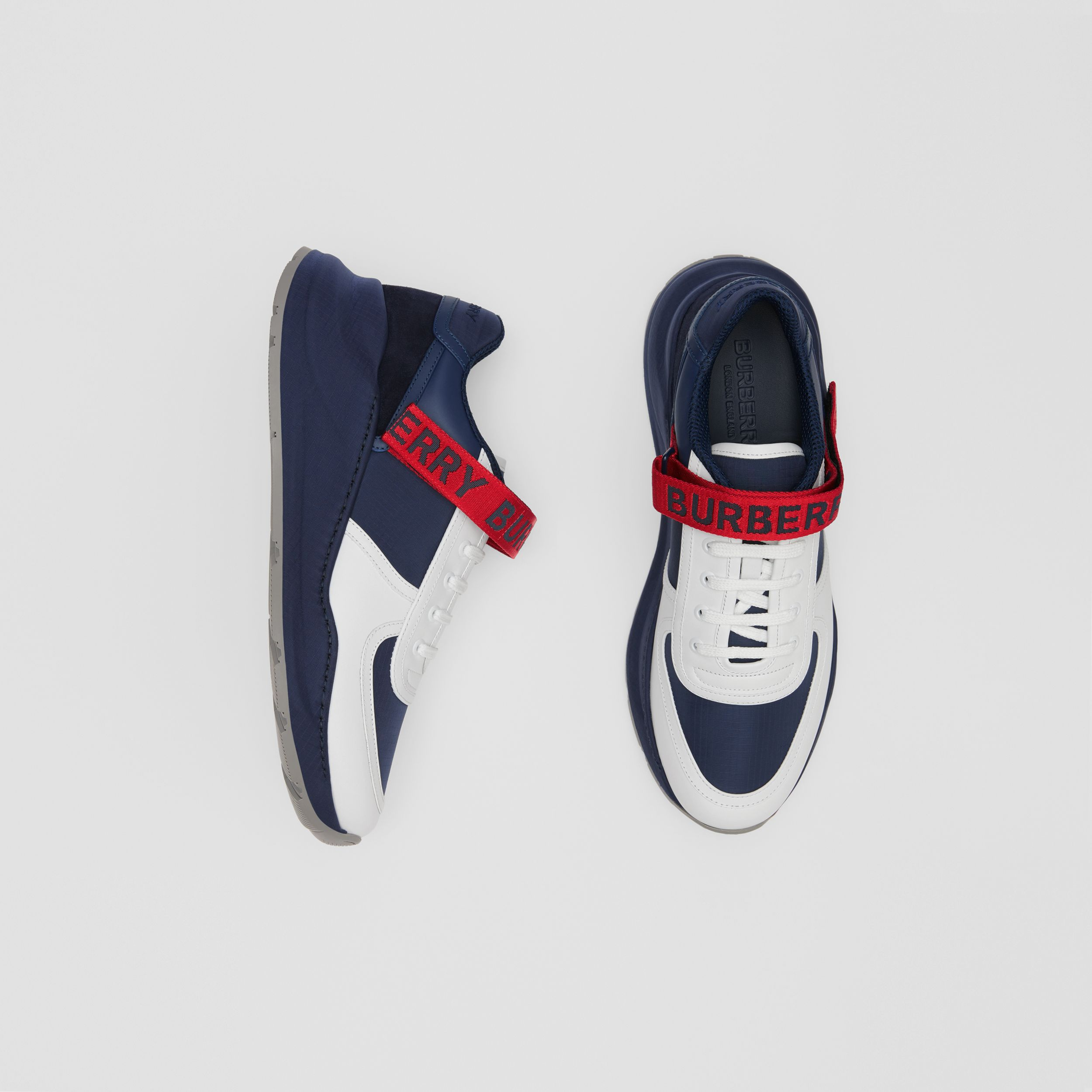 Logo Detail Leather and Suede Sneakers in Navy - Men | Burberry - 1