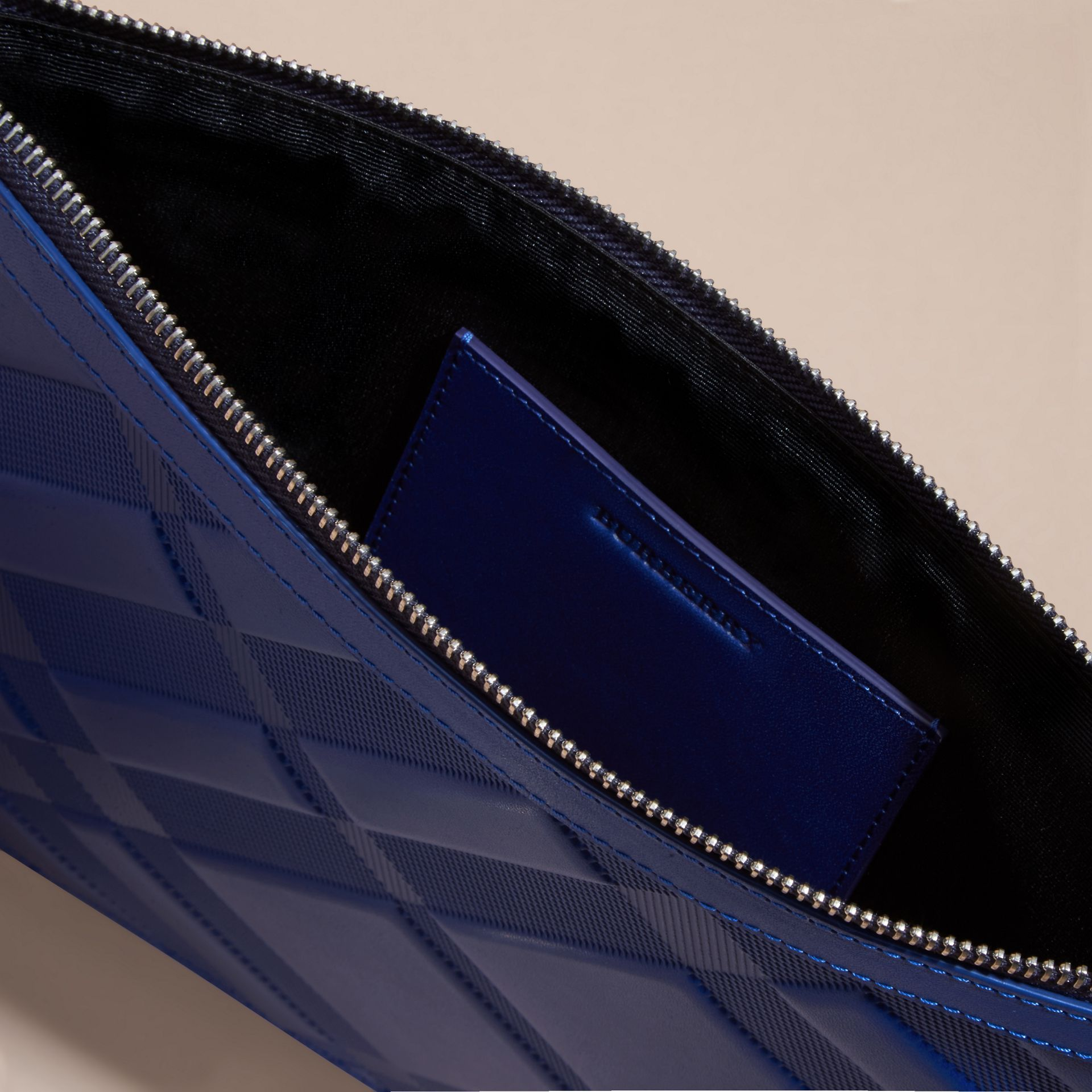 Lapis blue Check-embossed Leather Pouch Lapis Blue - gallery image 5