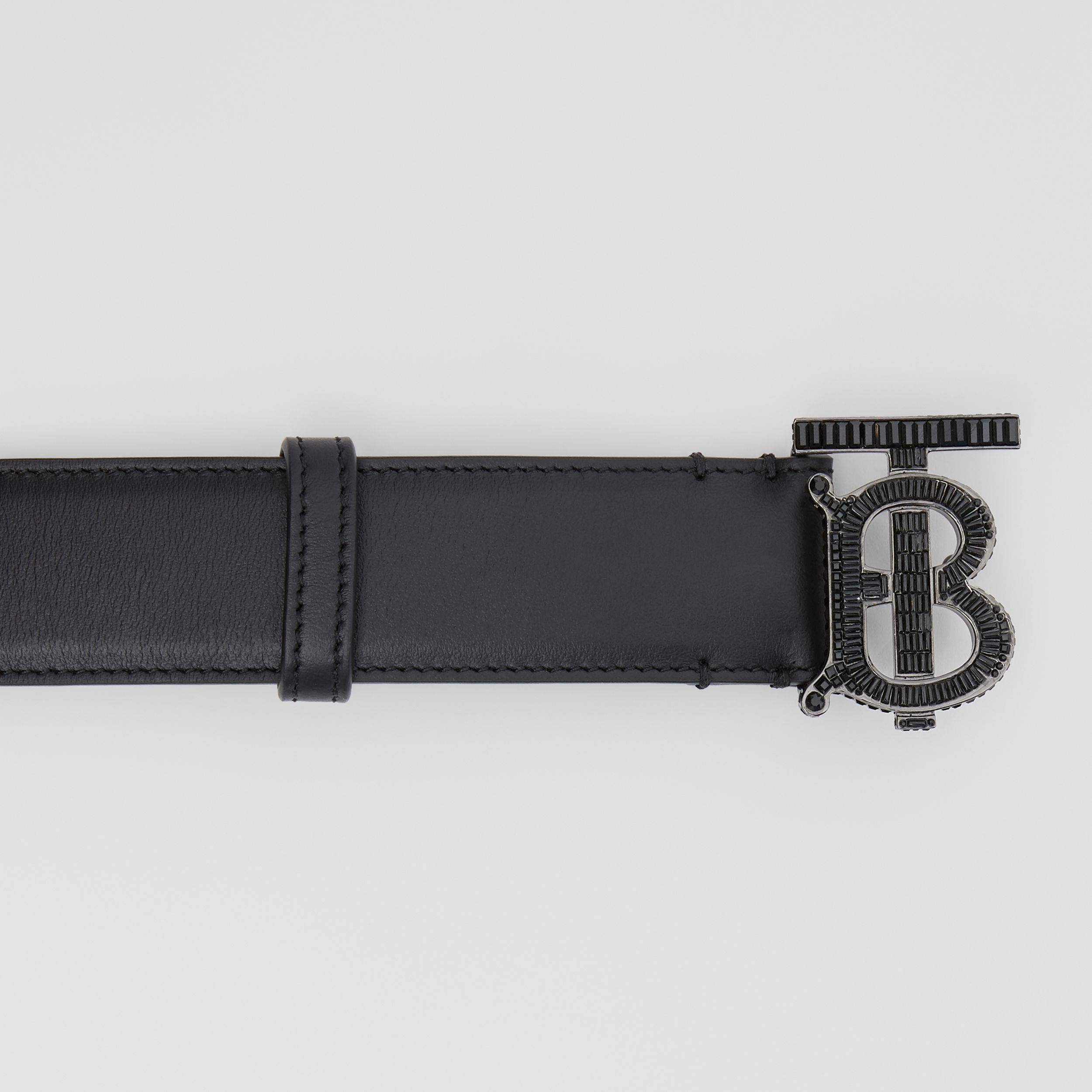 Crystal Monogram Motif Leather Belt in Black | Burberry - 2
