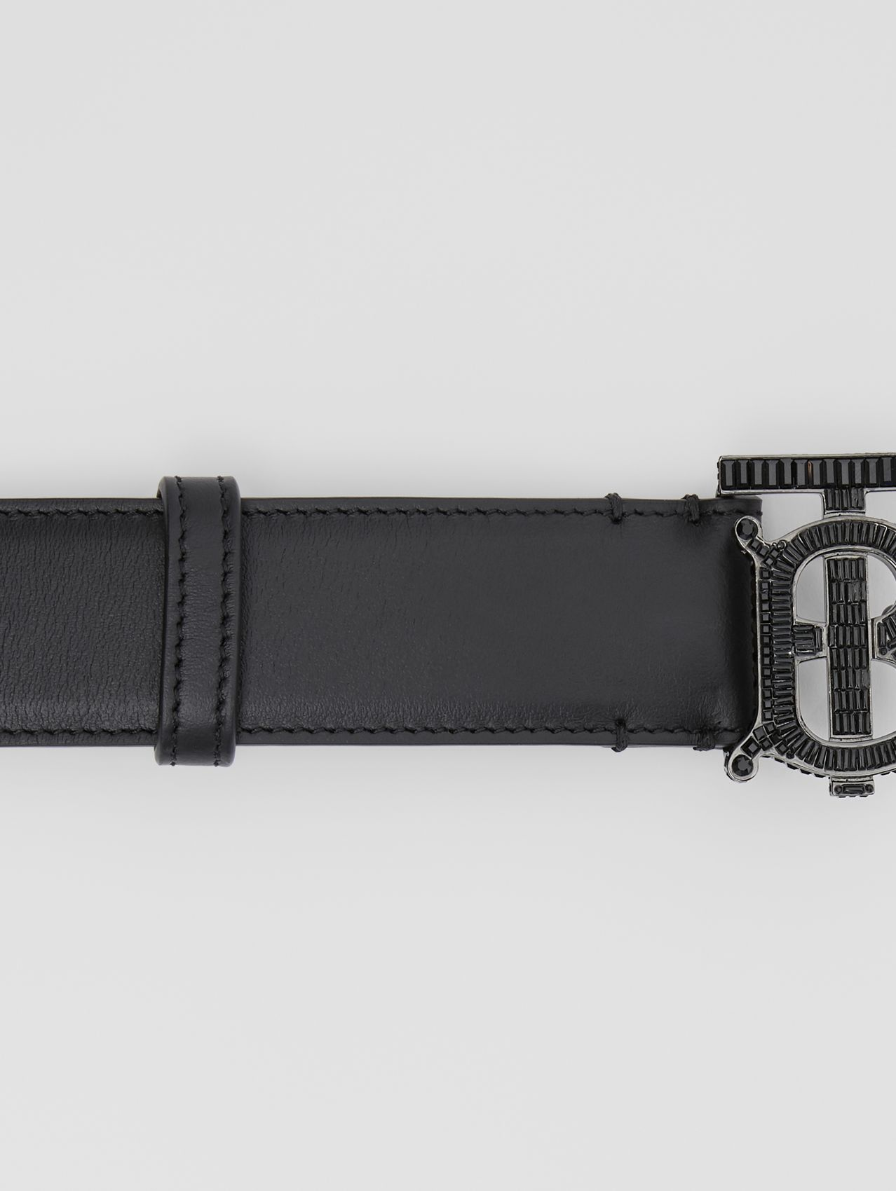 Crystal Monogram Motif Leather Belt in Black