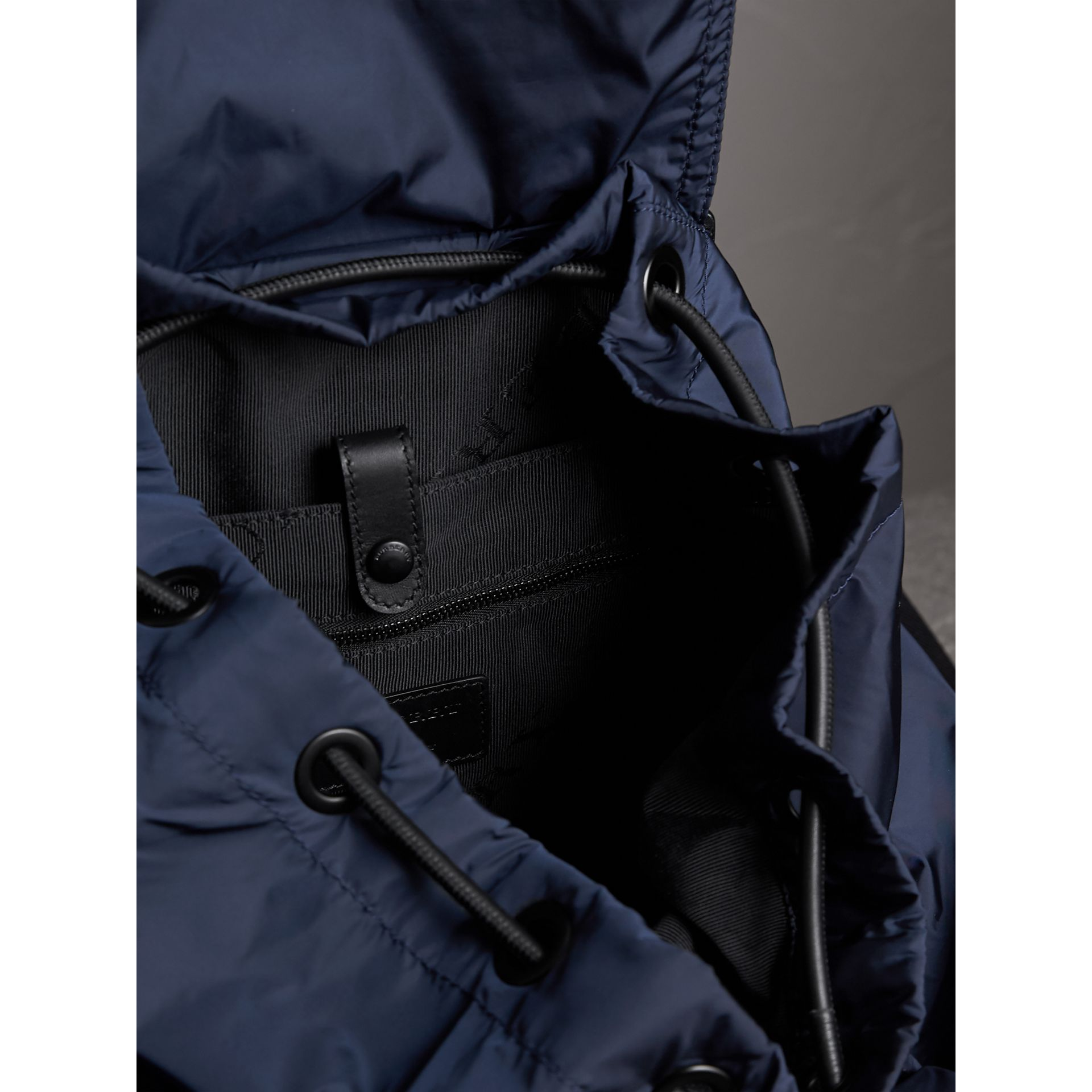 The Large Rucksack in Technical Nylon and Leather in Ink Blue - Men | Burberry United States - gallery image 3