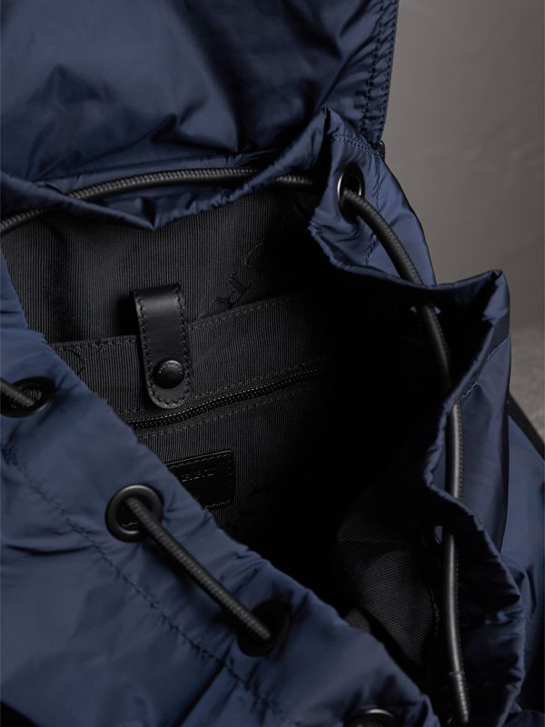 The Large Rucksack in Technical Nylon and Leather in Ink Blue - Men | Burberry Singapore - cell image 3