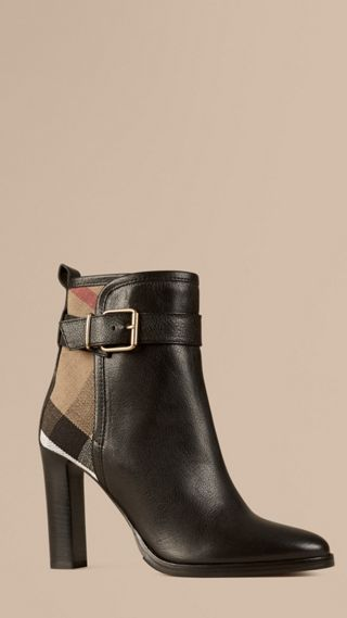 Canvas Check and Leather Ankle Boots