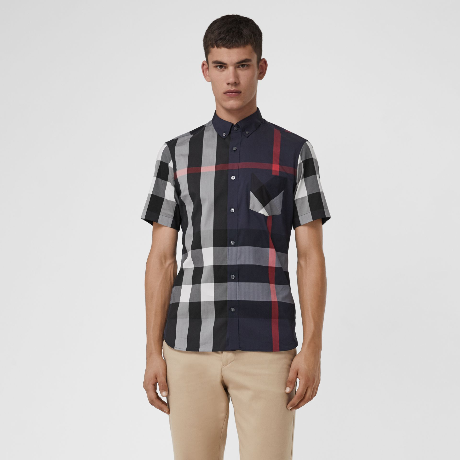 Short-sleeve Check Stretch Cotton Blend Shirt in Navy - Men | Burberry - gallery image 4