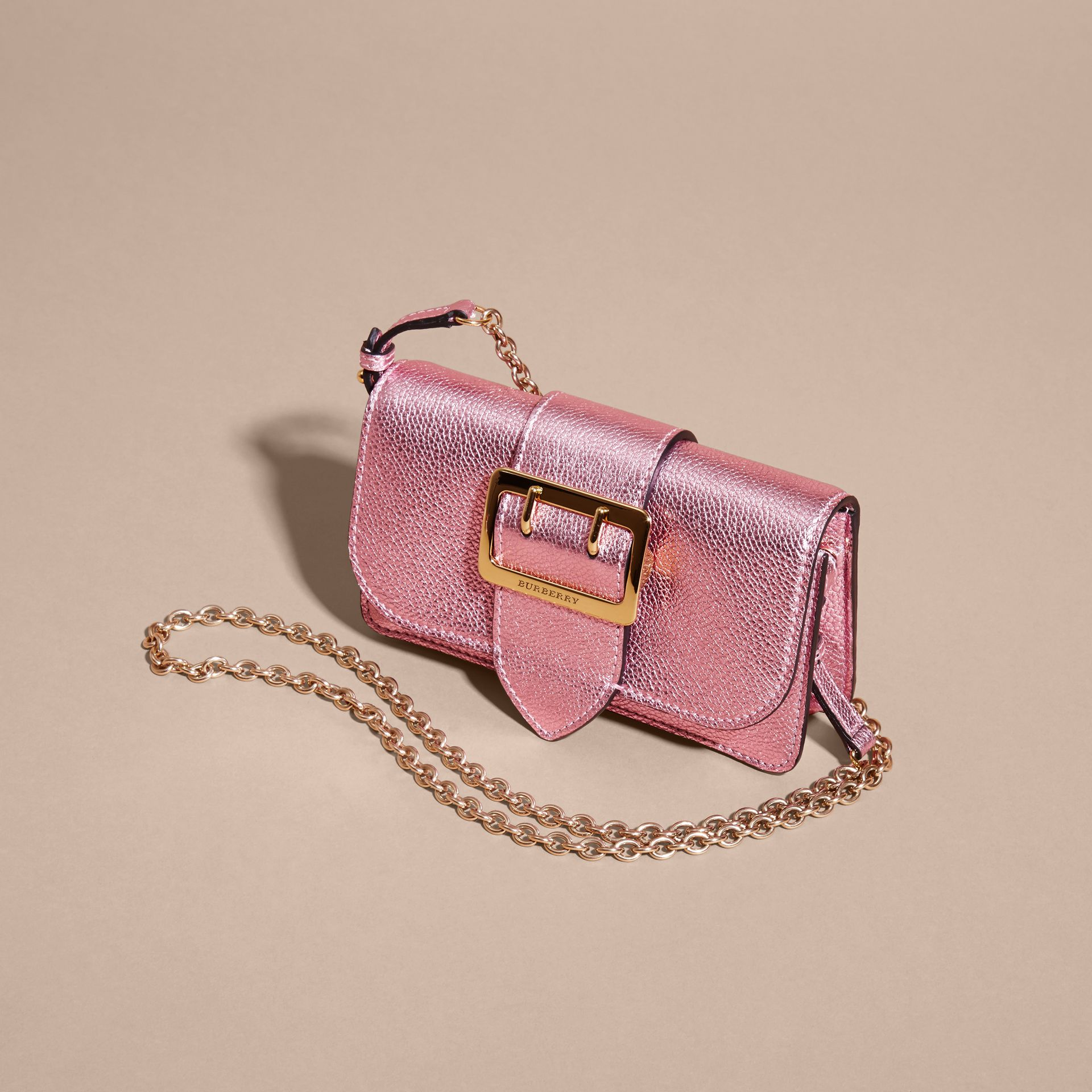 The Mini Buckle Bag in Metallic Grainy Leather in Pale Orchid - gallery image 8