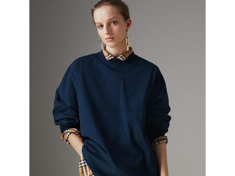 Printed Cotton Oversized Sweatshirt in Navy - Women | Burberry - cell image 4