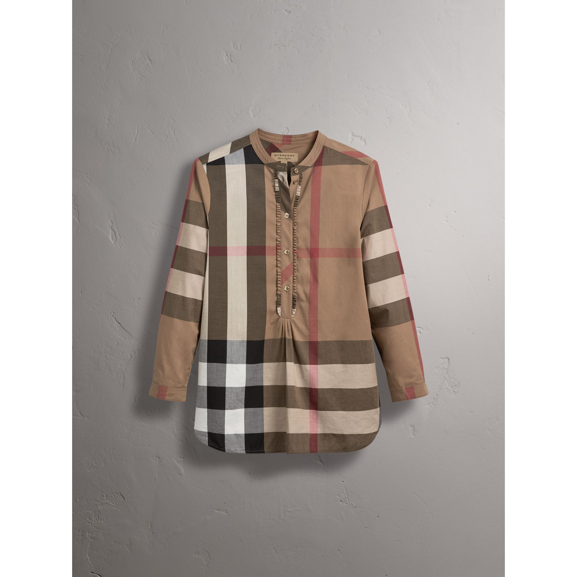 Check Grandad Collar Shirt in Taupe Brown - Women | Burberry - gallery image 4