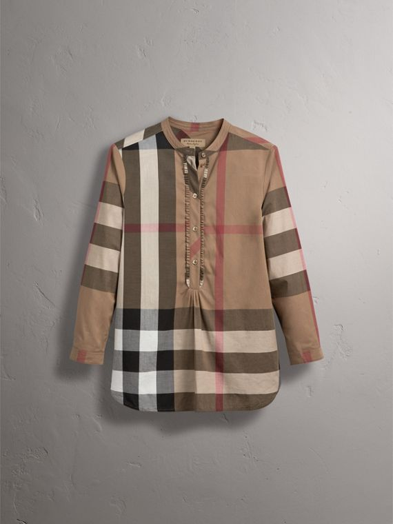 Check Grandad Collar Shirt in Taupe Brown - Women | Burberry - cell image 3