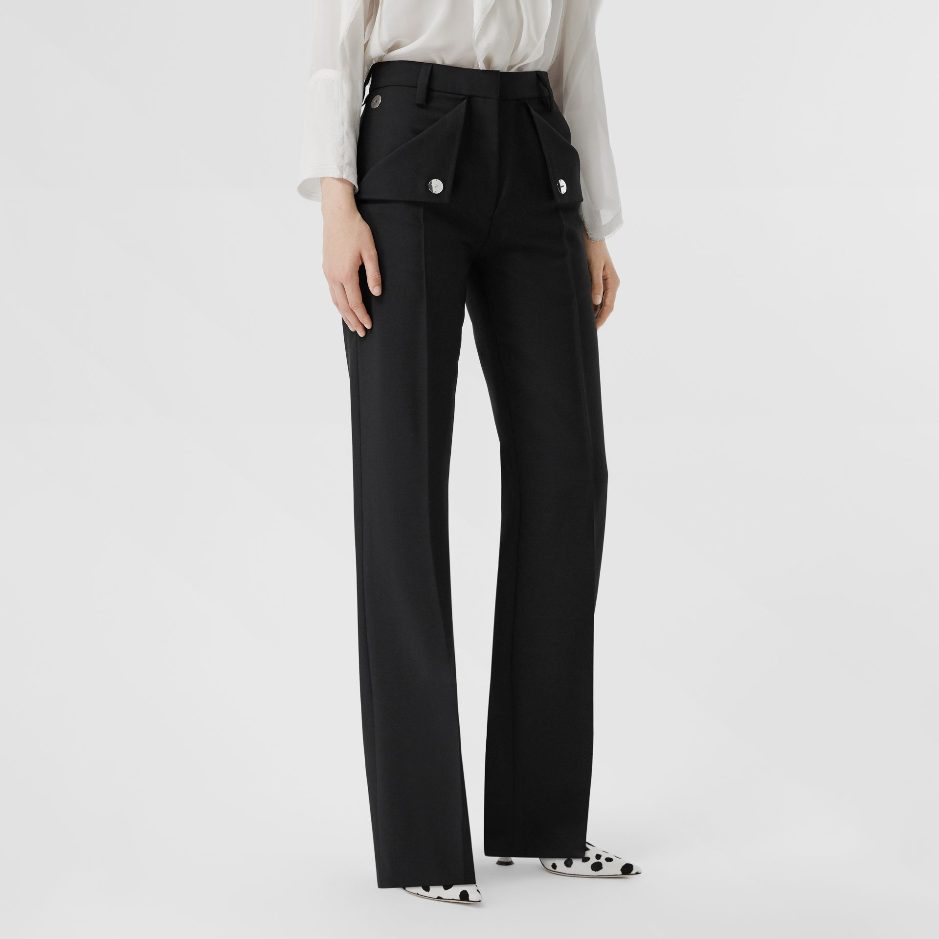 Pocket Detail Wool Mohair Tailored Trousers in Black - Women | Burberry - gallery image 5