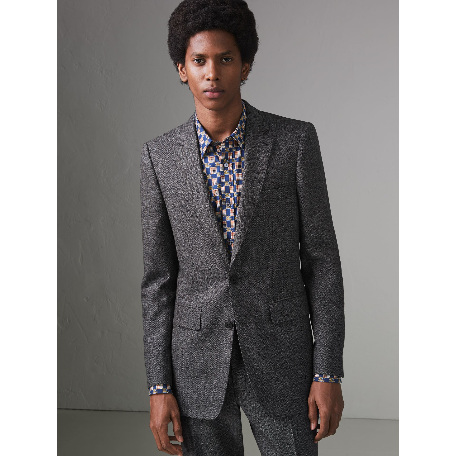 Slim Fit English Pinstripe Wool Suit in Mid Grey Melange - Men | Burberry Canada - gallery image 5
