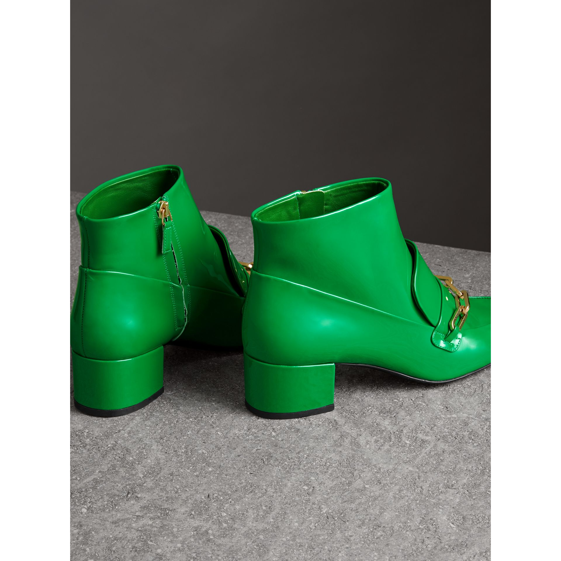Link Detail Patent Leather Ankle Boots in Bright Pigment Green - Women | Burberry - gallery image 3