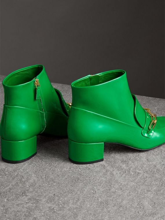 Link Detail Patent Leather Ankle Boots in Bright Pigment Green - Women | Burberry Australia - cell image 3