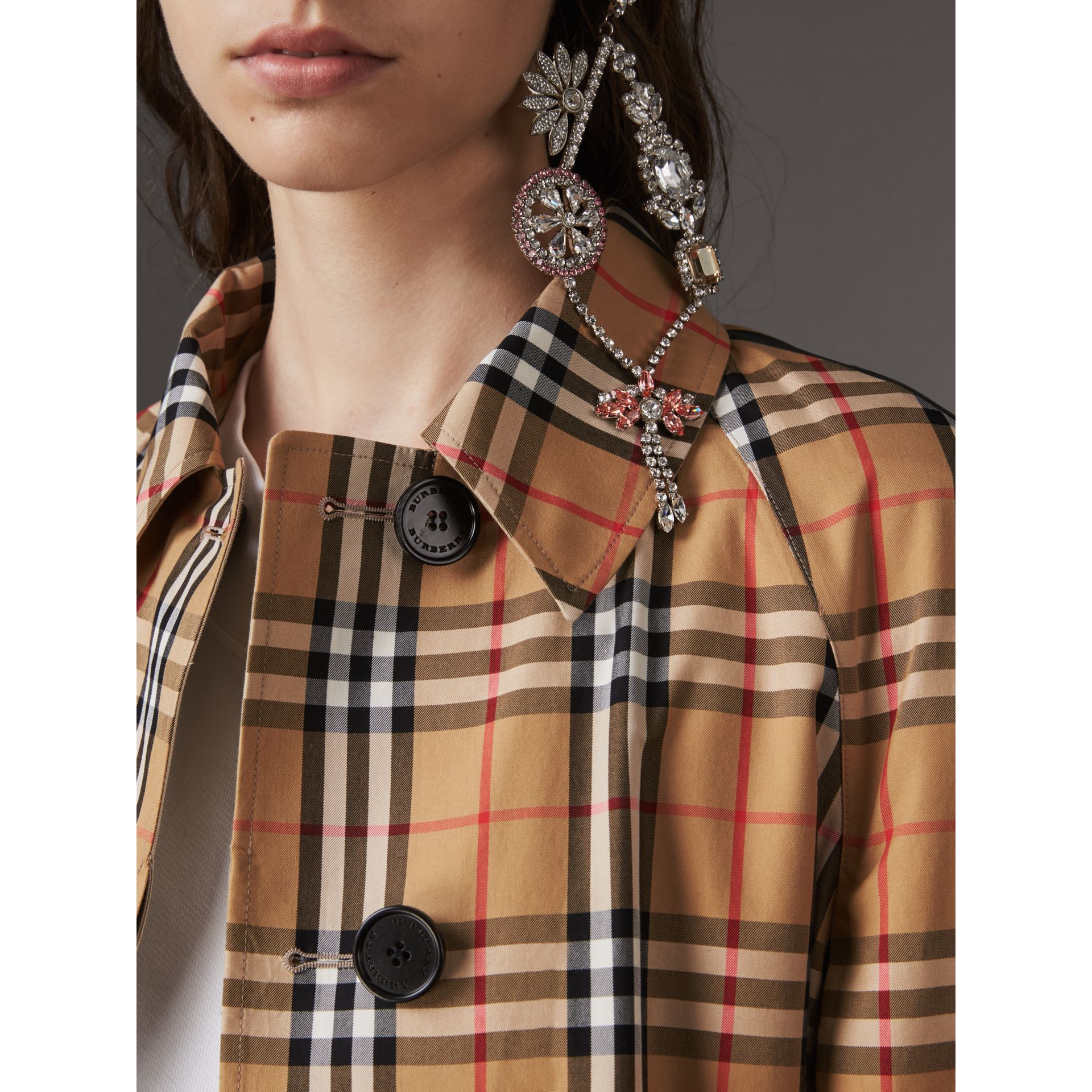 Reversible Vintage Check Gabardine Car Coat in Antique Yellow - Women | Burberry Australia - gallery image 1