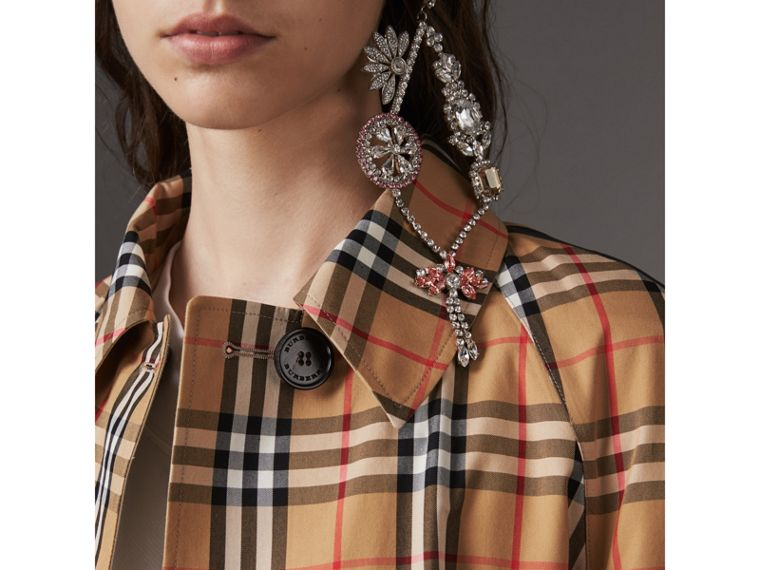 Reversible Vintage Check Gabardine Car Coat in Antique Yellow - Women | Burberry Australia - cell image 1