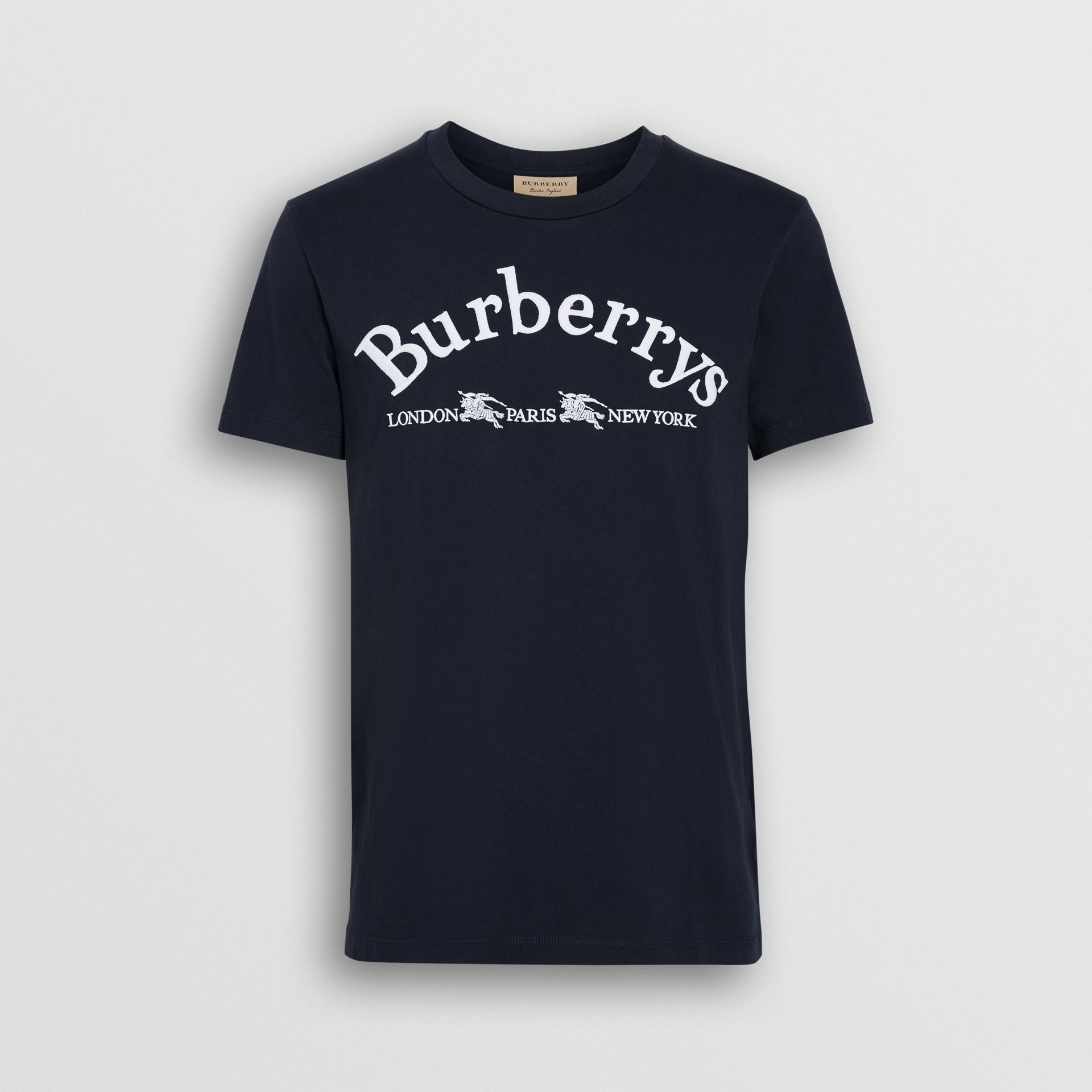 Archive Logo Cotton T-shirt in Navy - Men | Burberry United Kingdom - gallery image 3