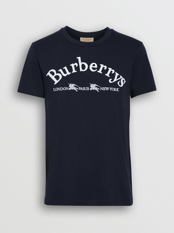 Archive Logo Cotton T-shirt in Navy - Men | Burberry United States - cell image 3