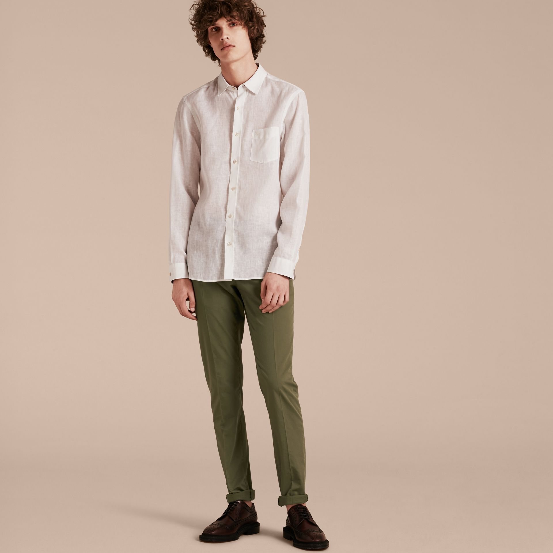 Check Detail Linen Shirt White - gallery image 6