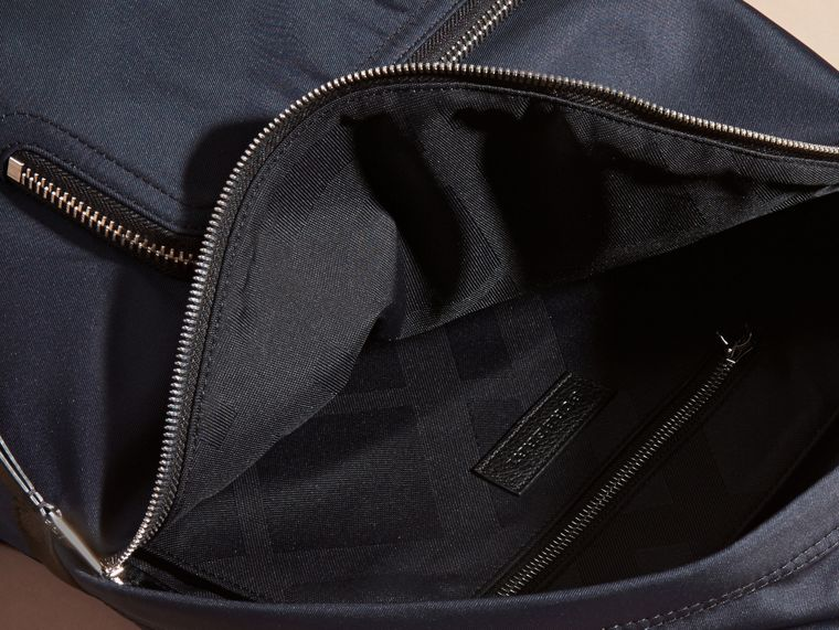 Dark navy Leather Trim Nylon Backpack - cell image 4