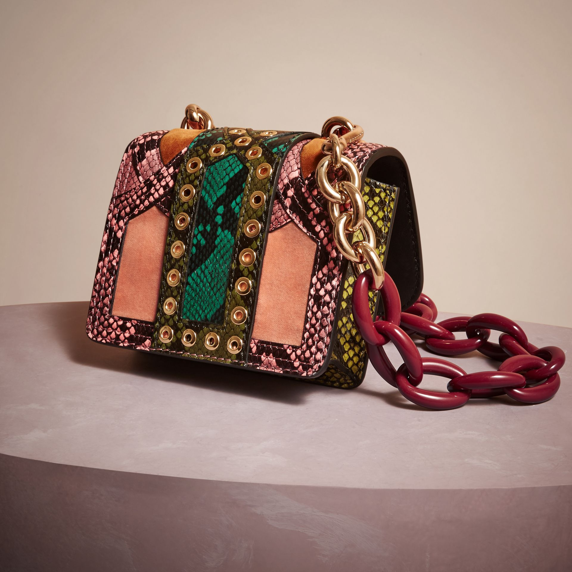 Rose pink The Mini Square Buckle Bag in Snakeskin and Velvet - gallery image 4