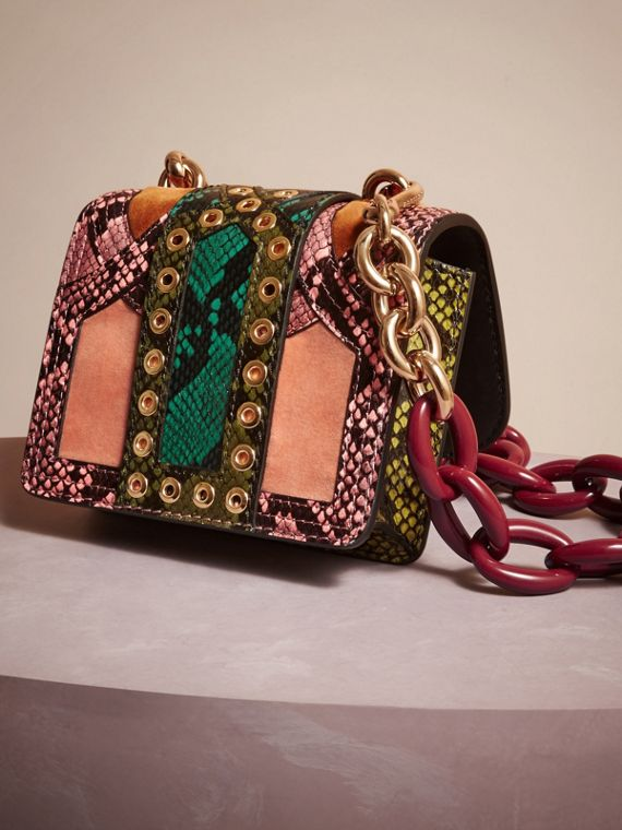 Rose pink The Mini Square Buckle Bag in Snakeskin and Velvet - cell image 3