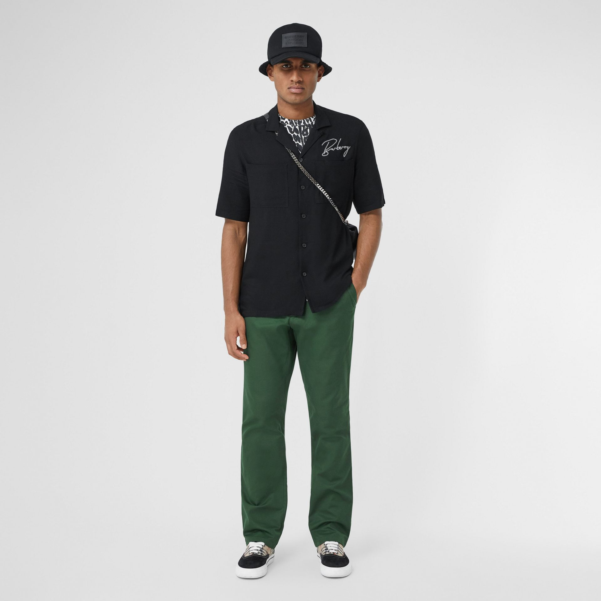 Classic Fit Cotton Chinos in Dark Pine Green - Men | Burberry - gallery image 0