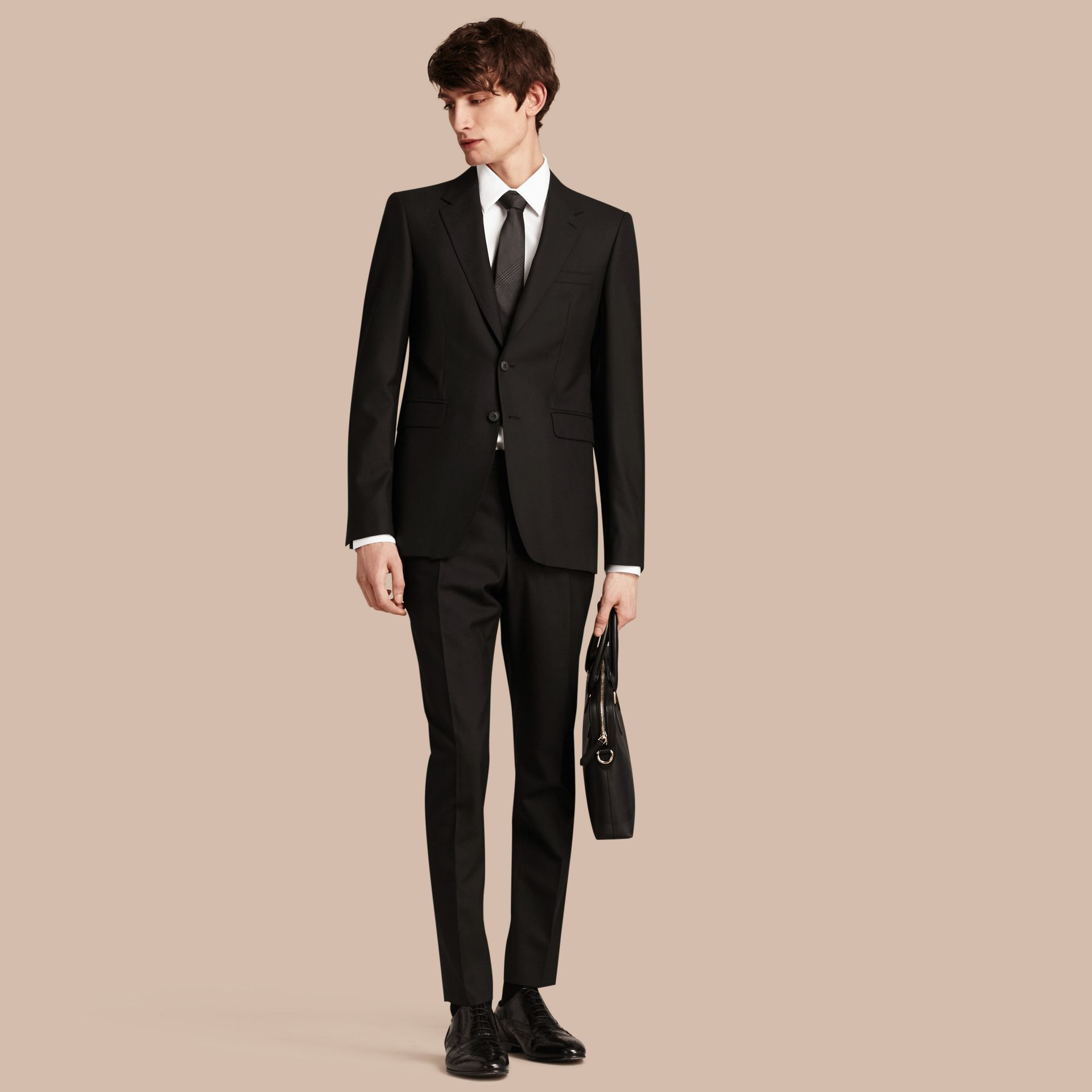 Black Modern Fit Wool Part-canvas Suit Black - gallery image 1