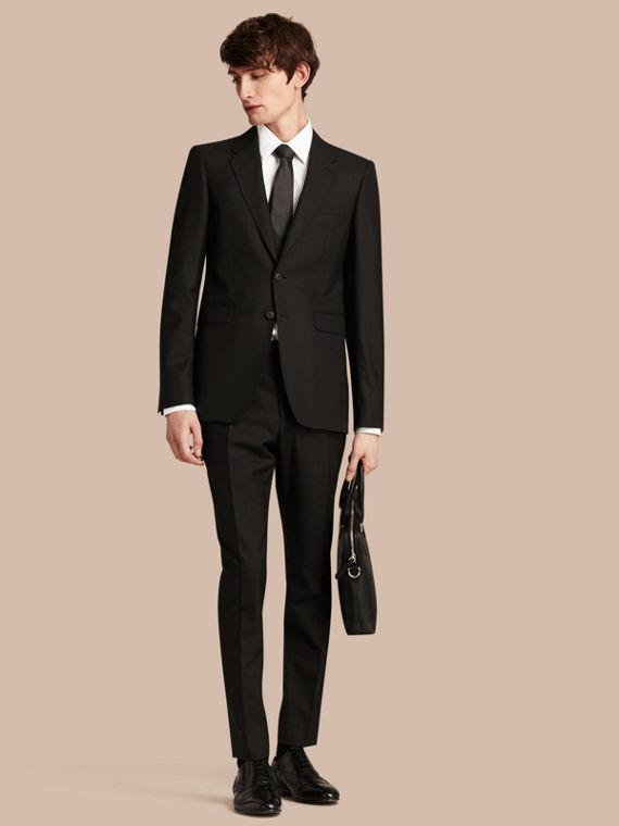 Modern Fit Wool Part-canvas Suit in Black
