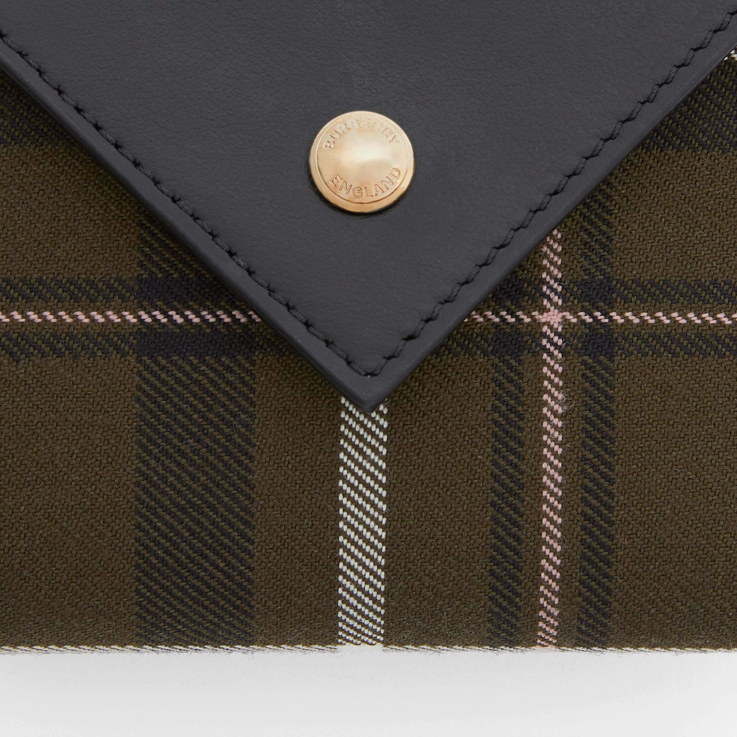 Tartan Wool and Leather Folding Wallet in Dark Green - Women | Burberry Australia - 2