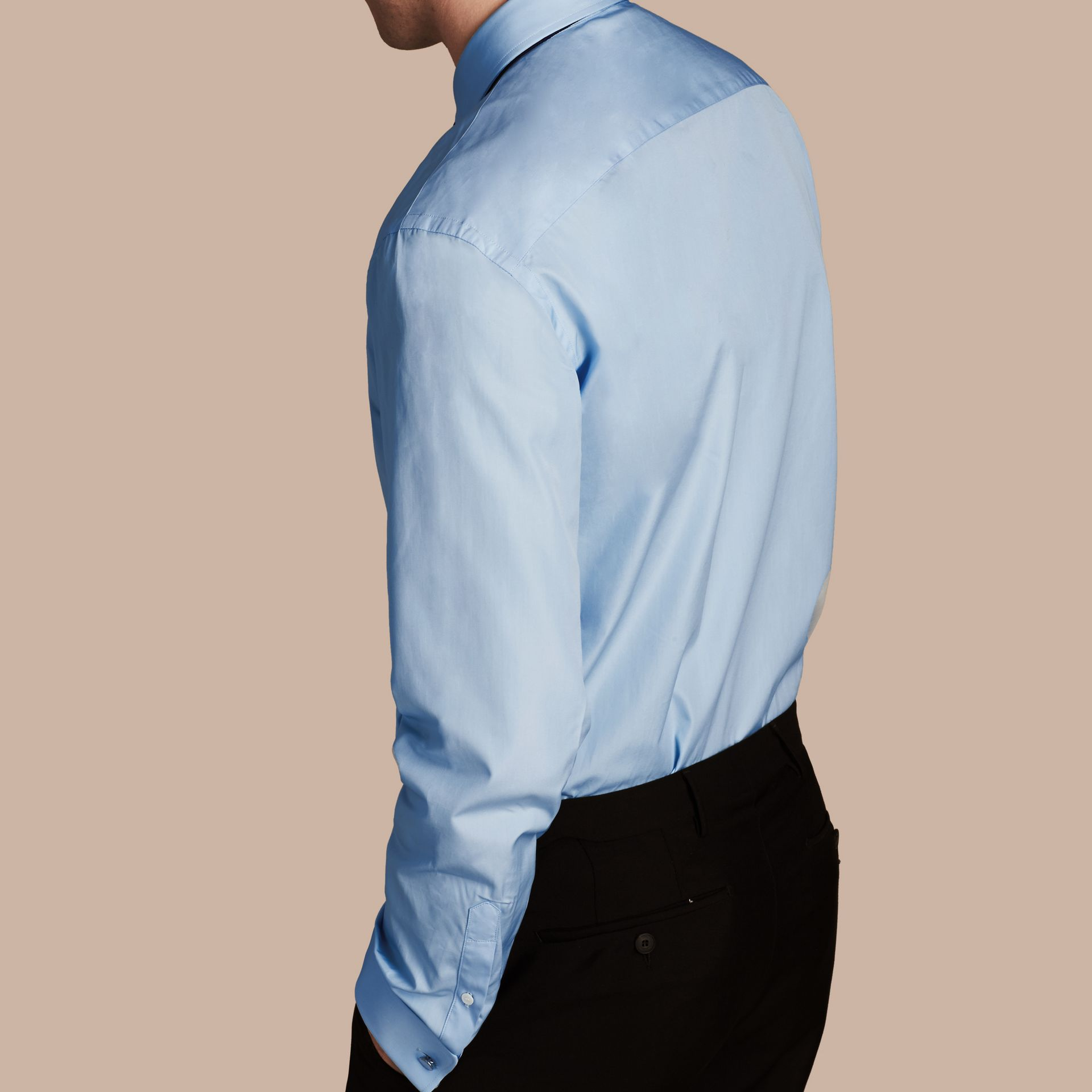 City blue Modern Fit Double-cuff Cotton Poplin Shirt City Blue - gallery image 3