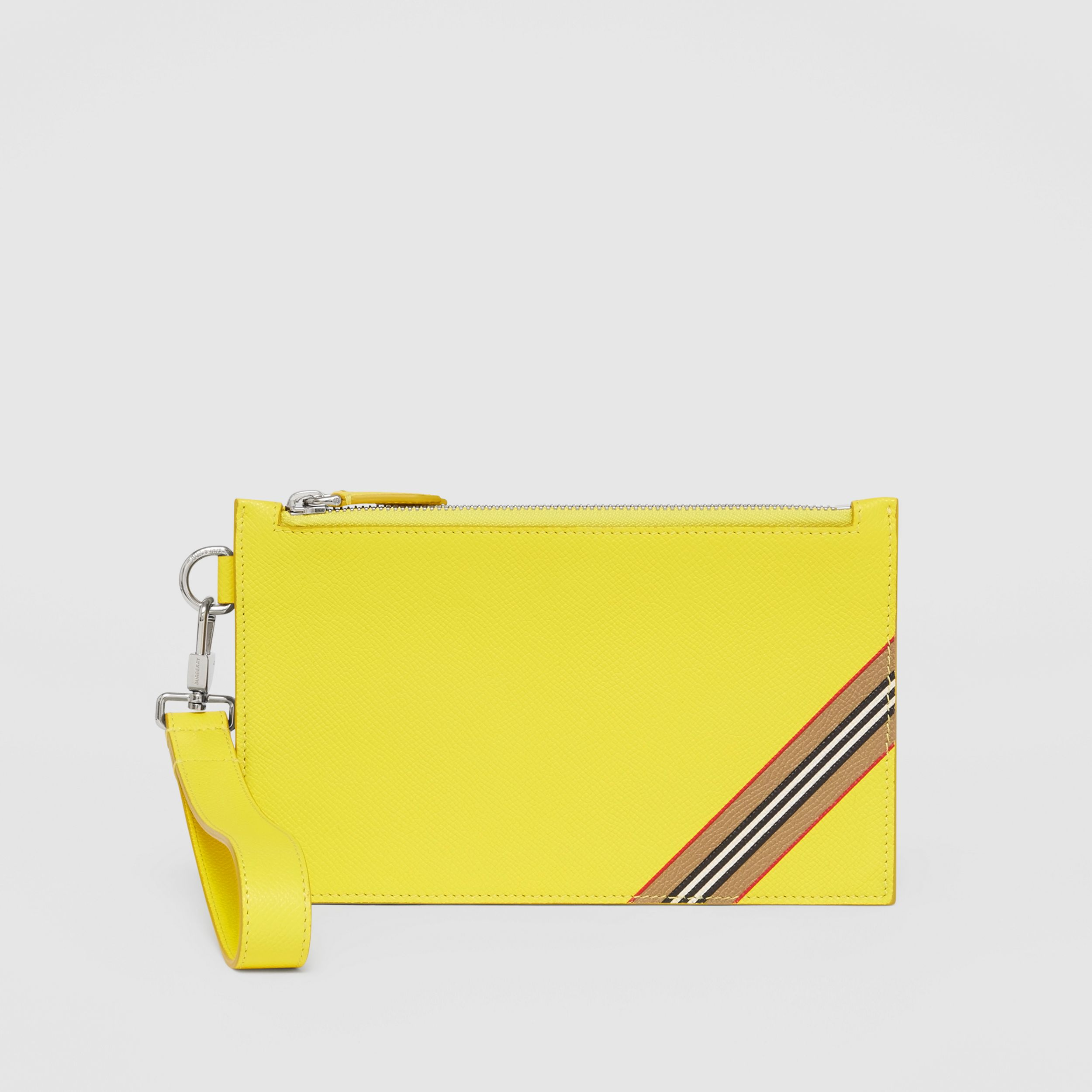 Icon Stripe Print Grainy Leather Zip Pouch in Marigold Yellow | Burberry - 1