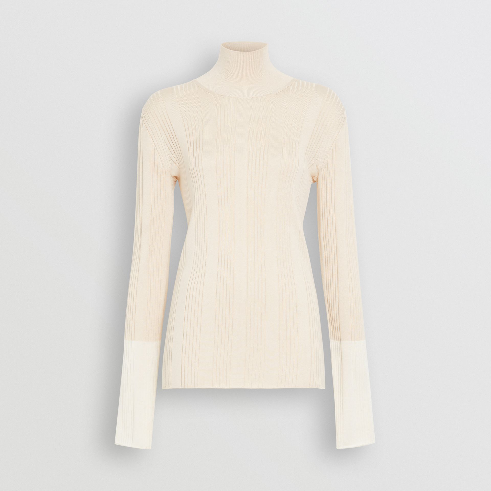 Rib Knit Silk Turtleneck Sweater in Natural White - Women | Burberry - gallery image 3