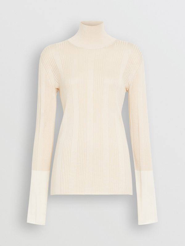 Rib Knit Silk Turtleneck Sweater in Natural White - Women | Burberry - cell image 3