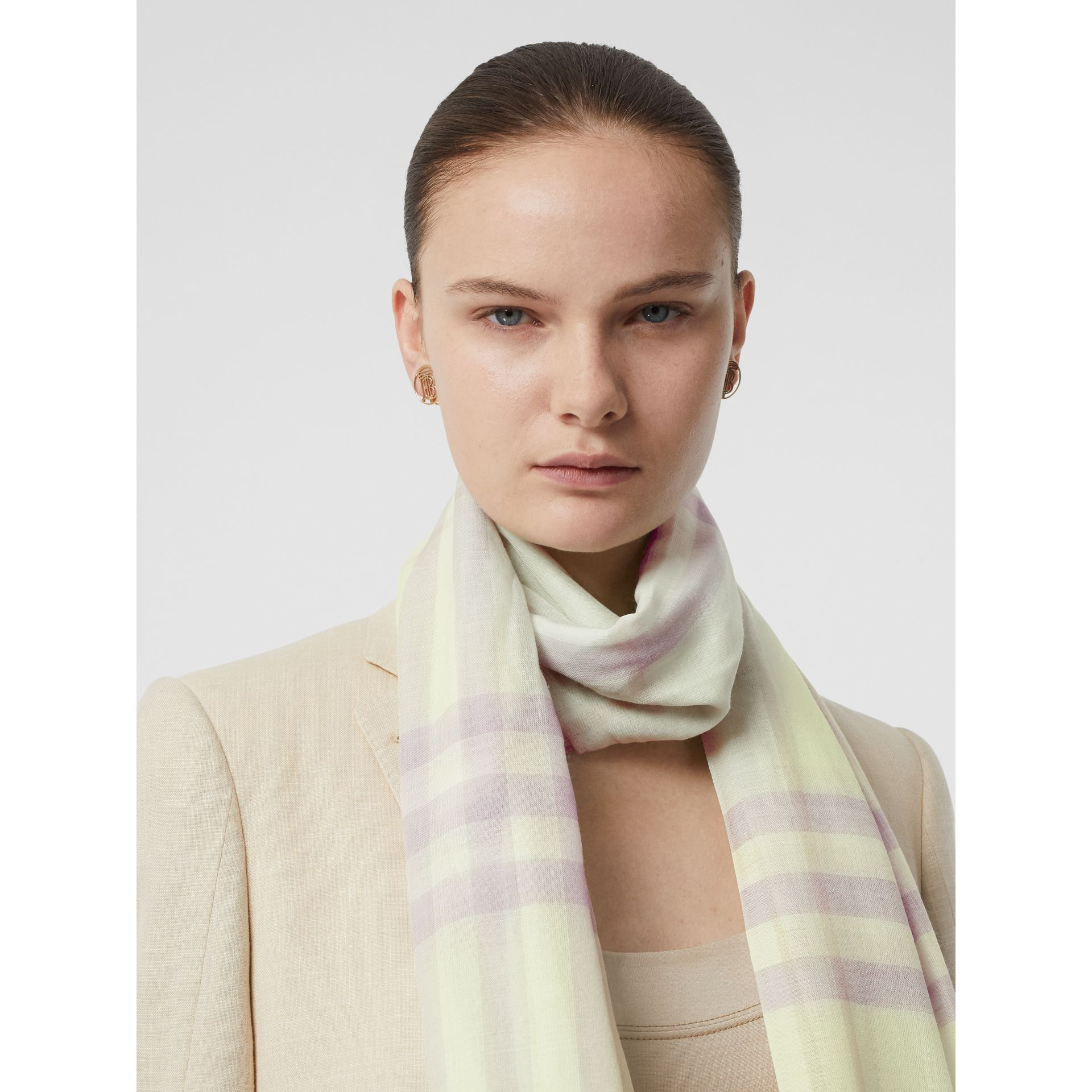 Lightweight Check Wool and Silk Scarf in Limestone - Men | Burberry United States - gallery image 2