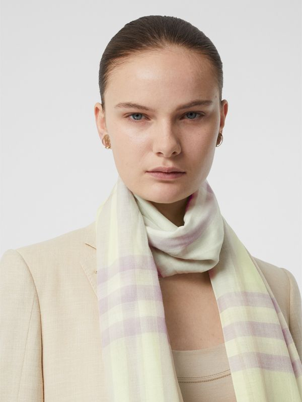 Lightweight Check Wool and Silk Scarf in Limestone - Men | Burberry United States - cell image 2
