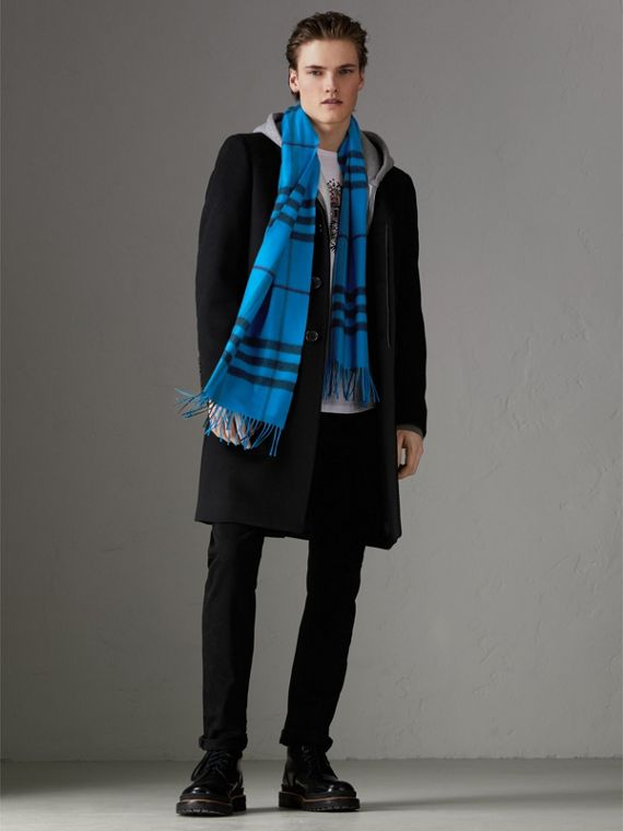 Overdyed Exploded Check Cashmere Scarf in Bright Blue | Burberry - cell image 3
