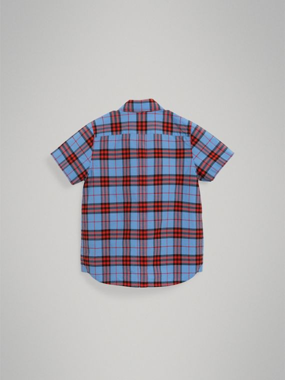 Short-sleeve Check Cotton Shirt in Cornflower Blue - Boy | Burberry - cell image 3