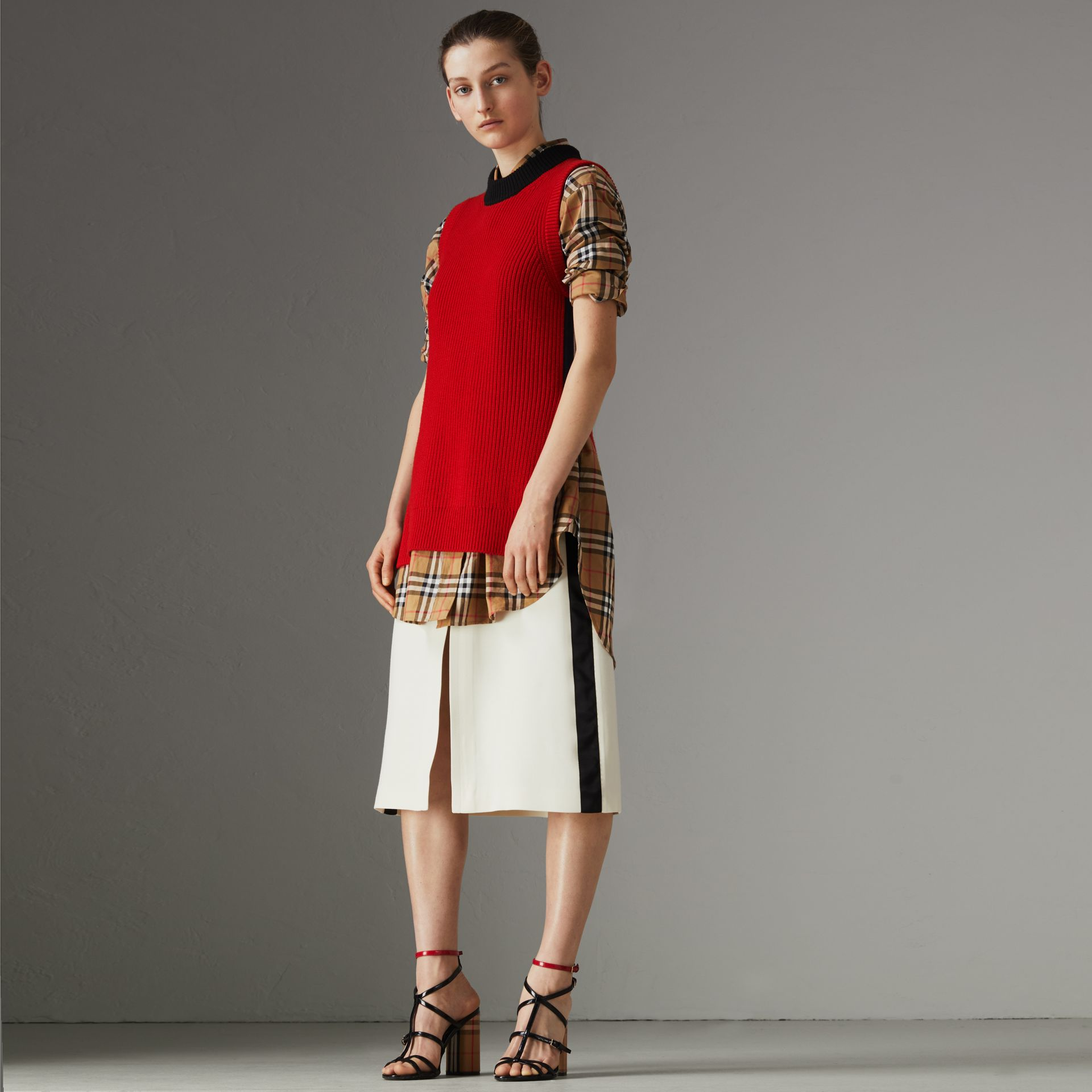 Sport Stripe Wool Silk A-line Skirt in Off White - Women | Burberry - gallery image 0