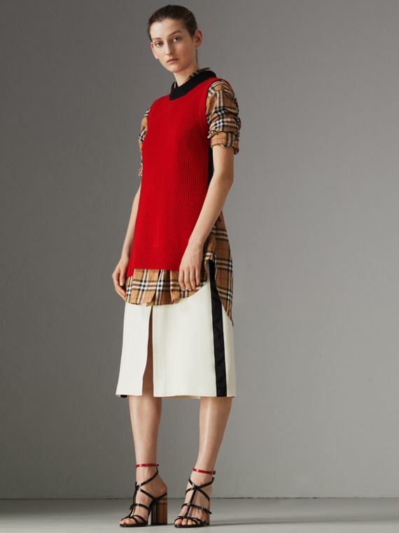 Sport Stripe Wool Silk A-line Skirt in Off White
